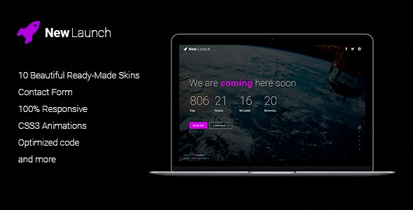 New Launch - Responsive Coming Soon Page HTML